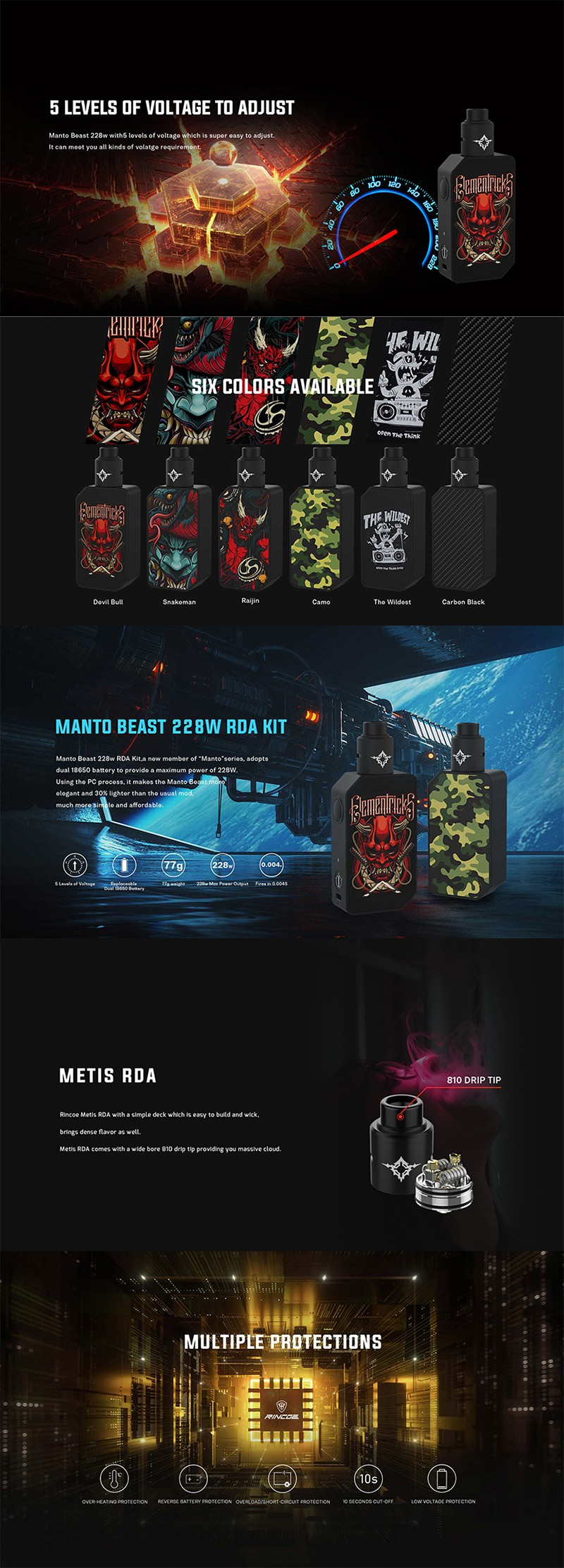 Rincoe Manto Beast 228W VV Box Mod Kit