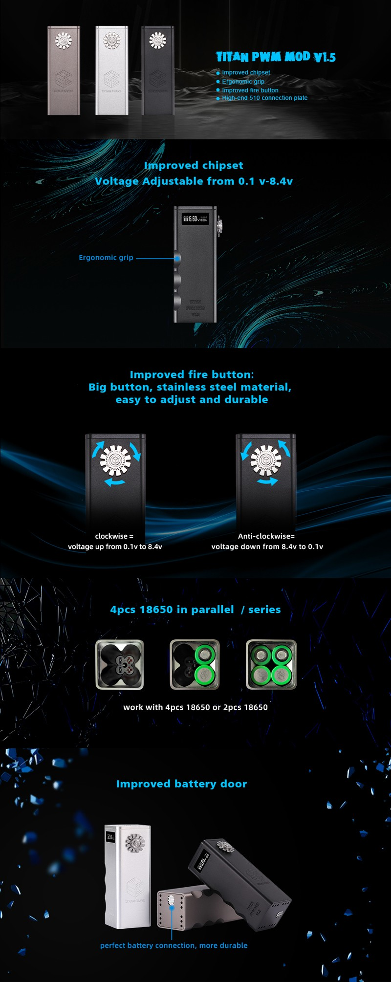 Steam Crave Titan PWM V1.5 VV Box Mod