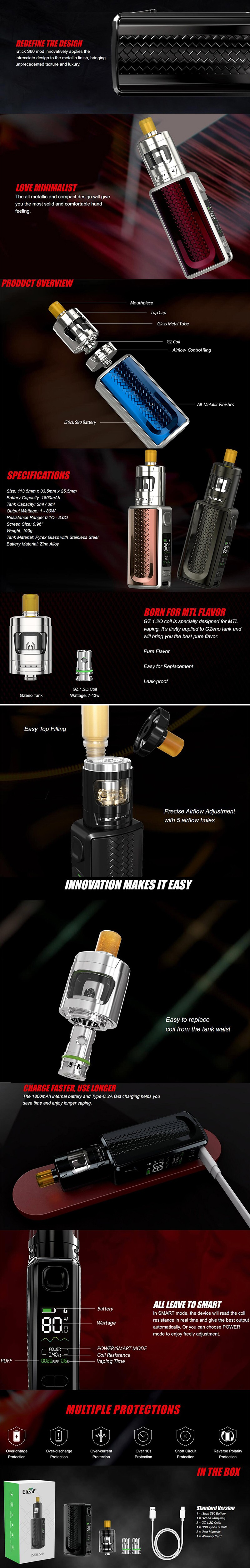 Eleaf iStick S80 80W Battery VW Box Mod + GZeno Tank Vape Kit