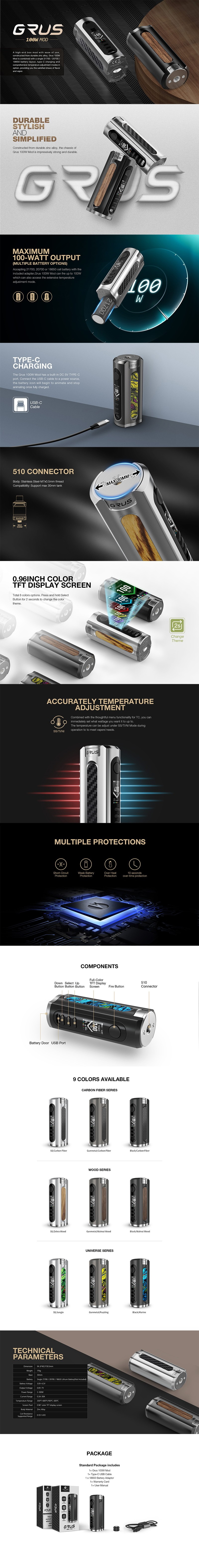 Authentic Lost Vape Grus 100W TC VW Vape Box Mod