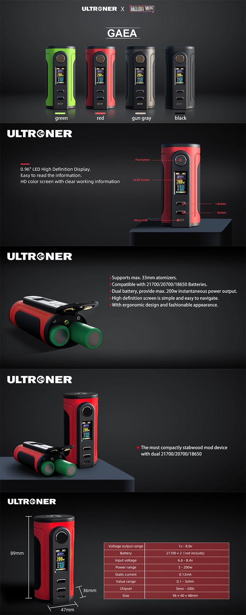 Authentic Ultroner x Fallout Vape Gaea 200W Vape Box Mod