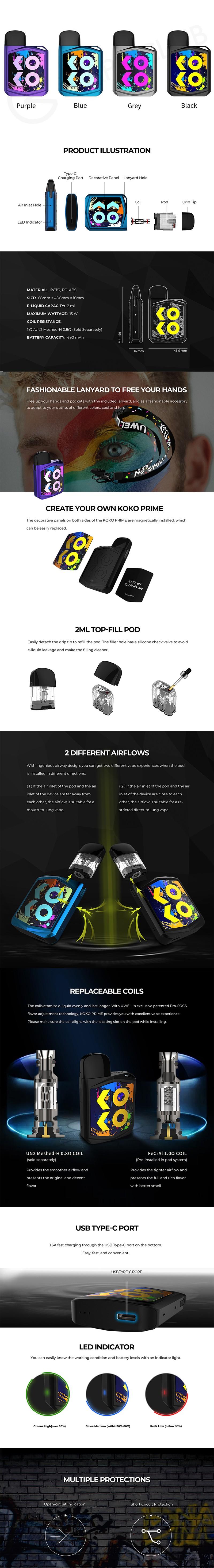 Authentic Uwell Caliburn KOKO Prime 15W Pod System Kit