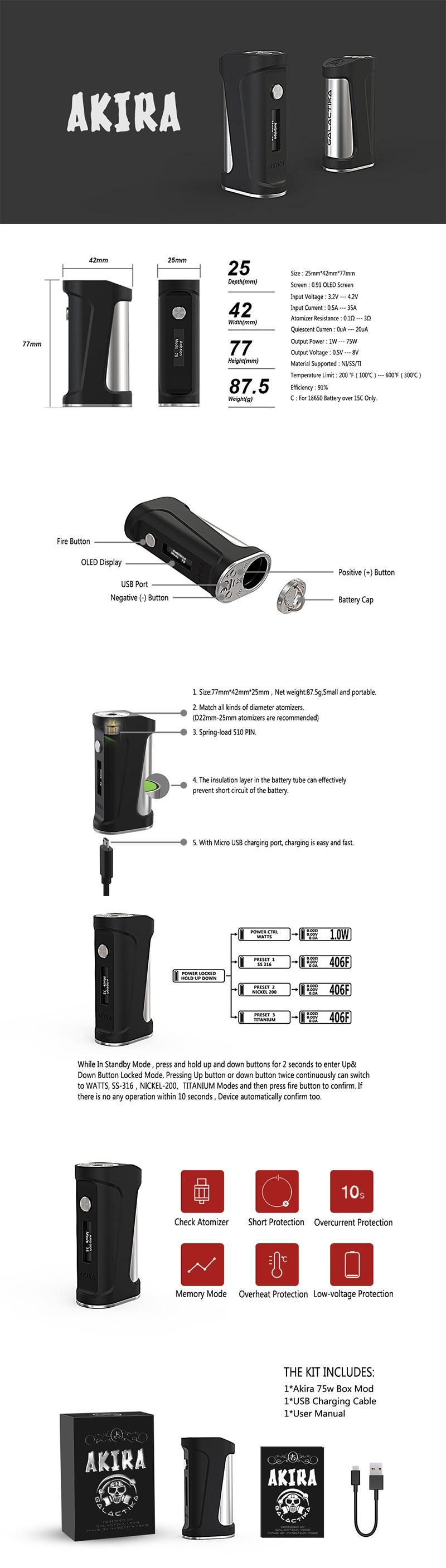 Authentic Ambition Mods & Galactika Mod AKIRA Vape Box Mod