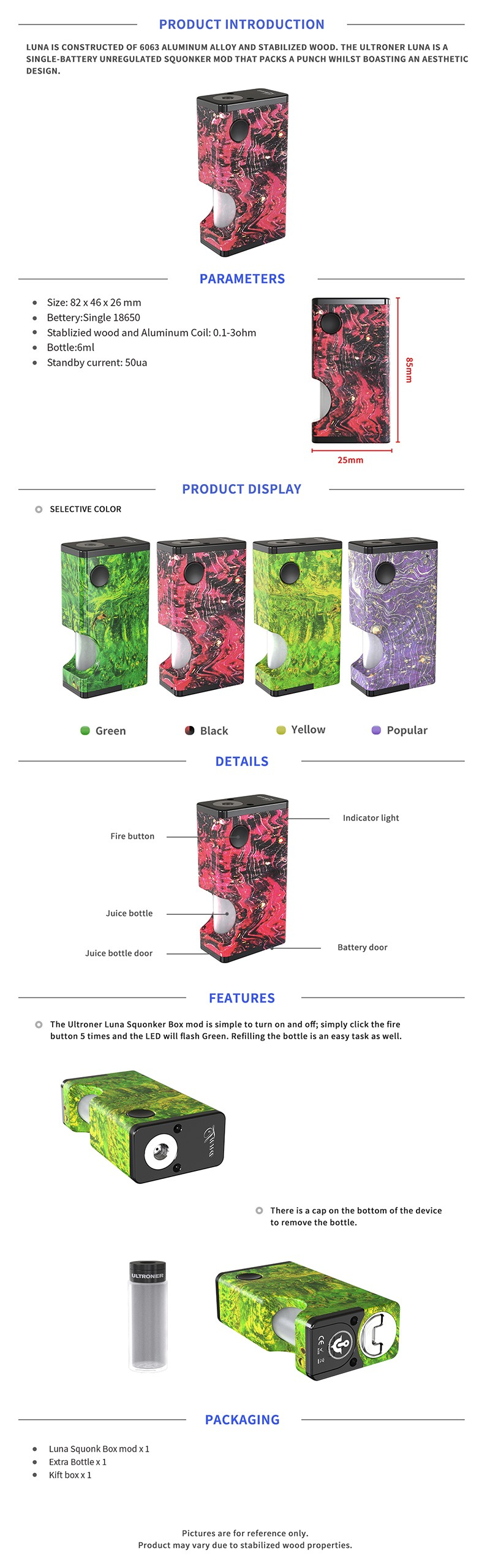 Authentic Ultroner Luna 80W Squonk Vape Box Mod