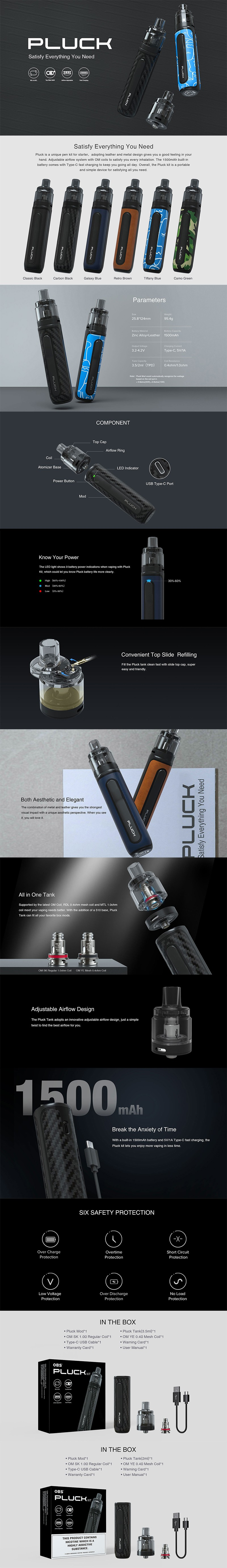Authentic OBS Pluck Pod Mod Vape Starter Kit