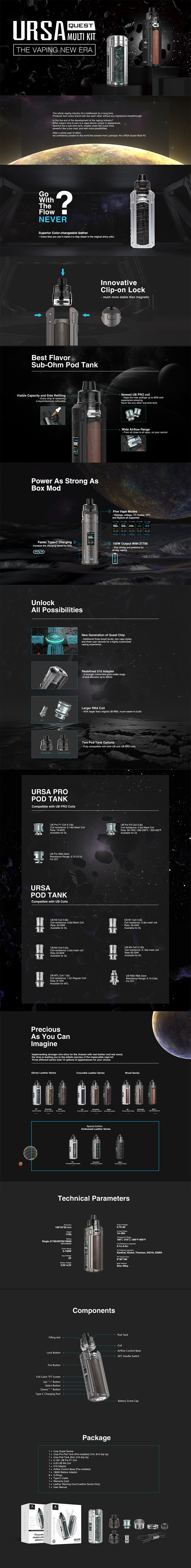 Authentic Lost Vape Ursa Quest Multi Pod Mod Kit 100W TC VW Box Mod + Ursa Pro Pod