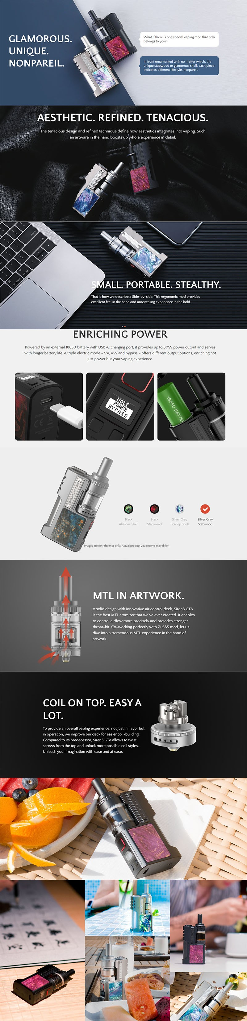 Authentic Digiflavor Z1 SBS Kit 80W VV VW Box Mod + Siren 3 GTA