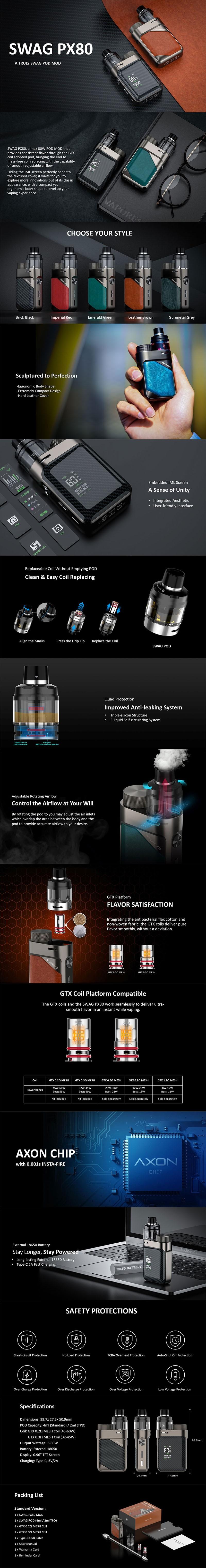 Authentic Vaporesso Swag PX80 Kit 80W Box Mod + Swag 4ml Pod Tank