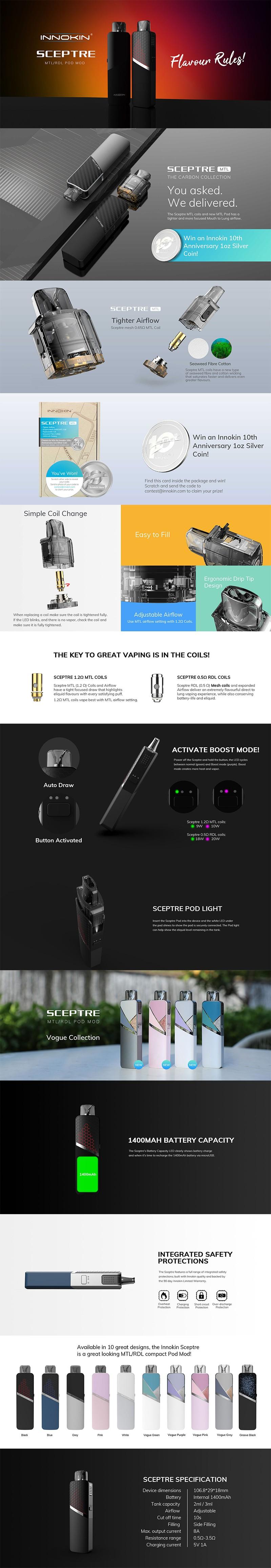 Authentic Innokin Sceptre 1400mAh Pod System Mod Vape Starter Kit