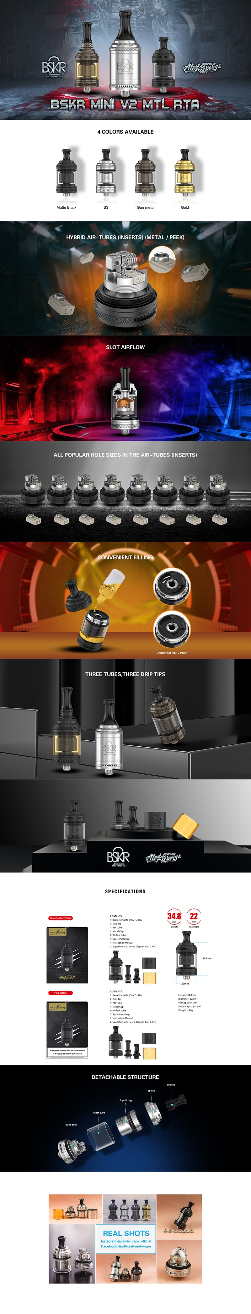 Authentic Vandy Vape Berserker Mini V2 MTL RTA Vape Atomizer