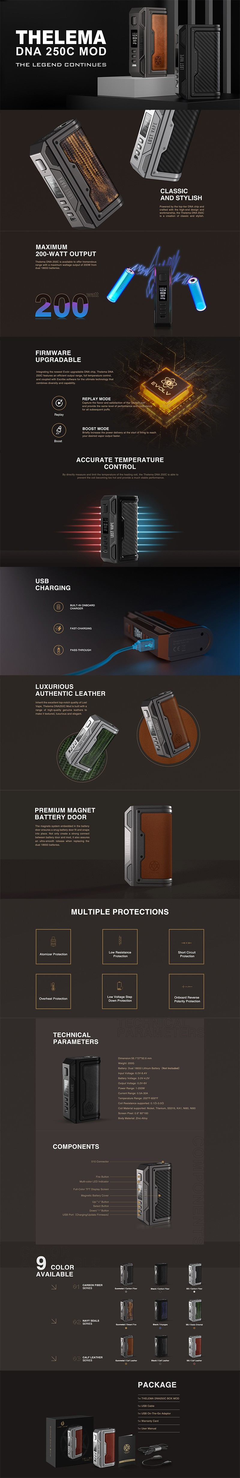 Authentic Lost Vape Thelema DNA250C 200W VW TC Box Mod