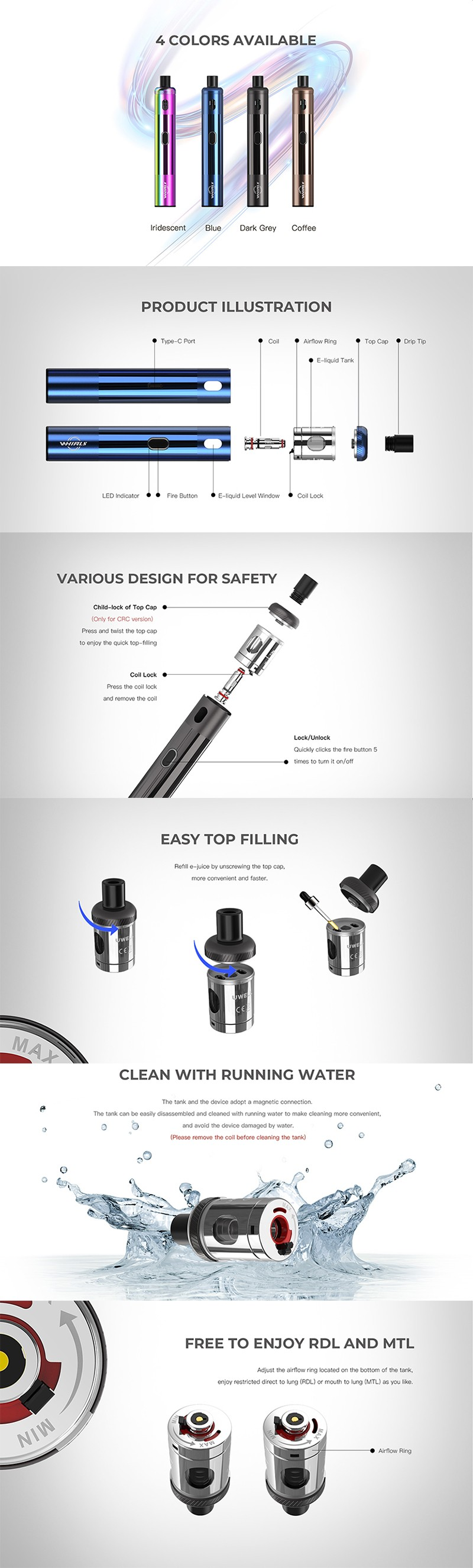 Authentic Uwell Whirl S 1450mAh 18W Pod System Vape Pen Starter Kit