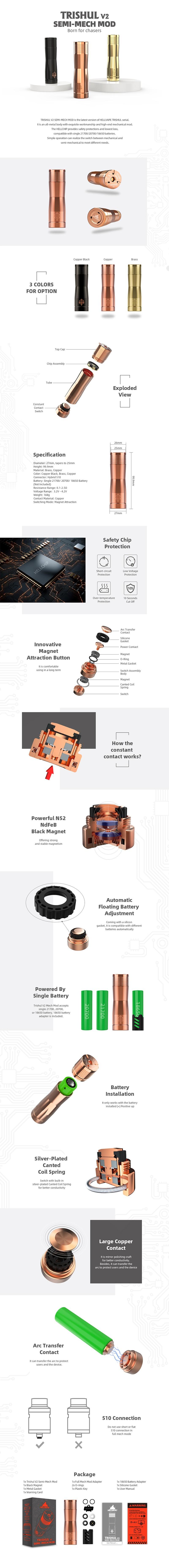 Authentic Hellvape Trishul V2 Semi-Mech Vape Mechanical Mod