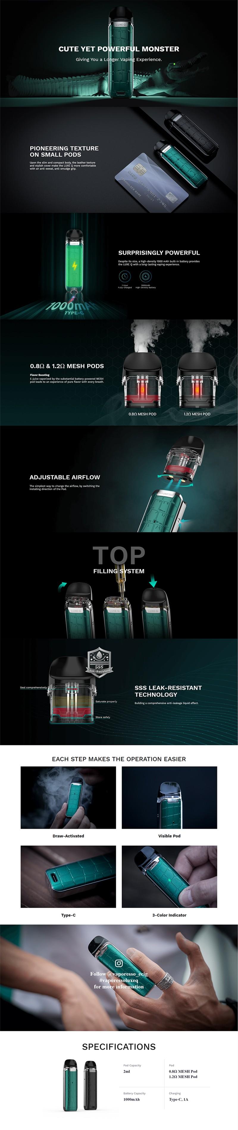 Authentic Vaporesso Luxe Q Pod System Vape Kit