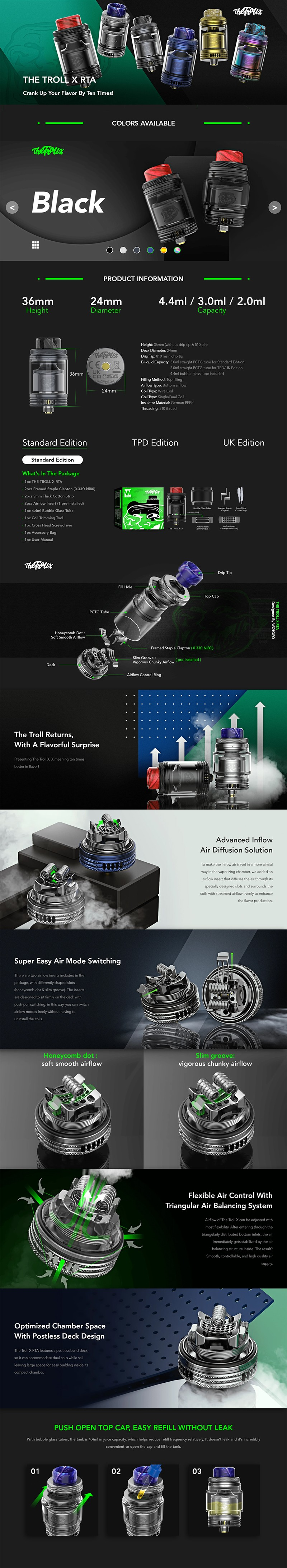 Authentic Wotofo The Troll X RTA Rebuildable Tank Vape Atomizer