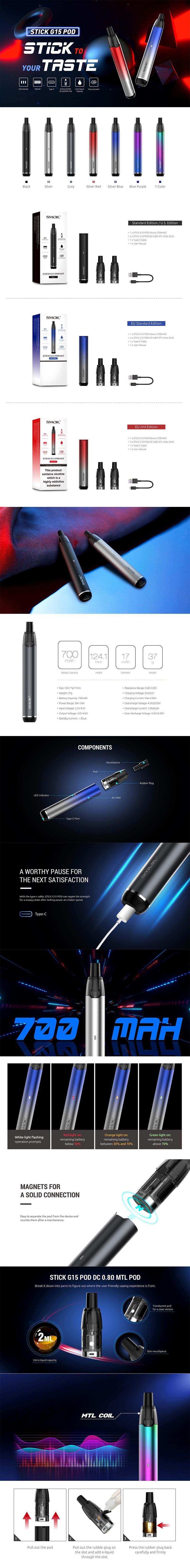 Authentic SMOKTech SMOK Stick G15 Pod System Vape Starter Kit