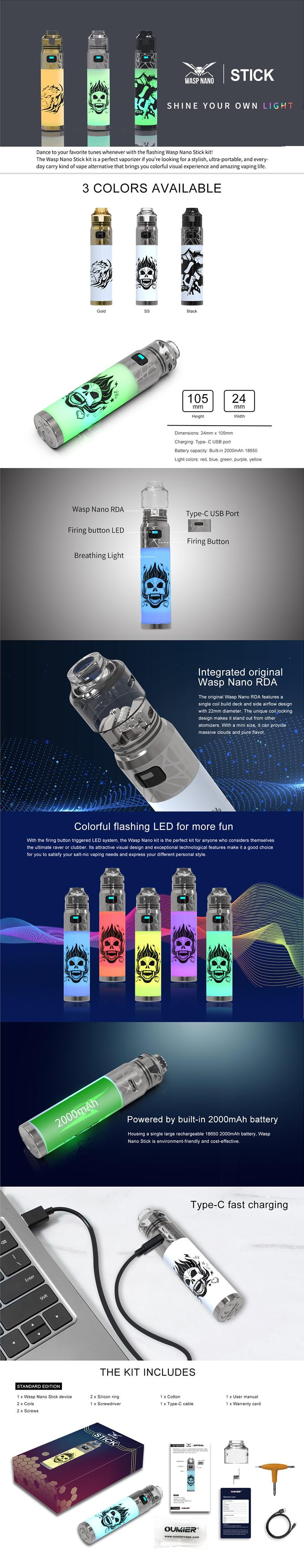 Authentic Oumier Wasp Nano Stick Pod System Mod + Wasp Nano RDA Vape Starter Kit