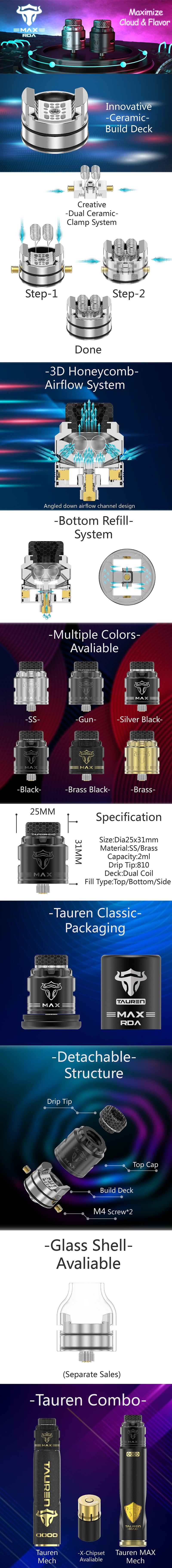 Authentic ThunderHead Creations THC Tauren MAX RDA Rebuildable Dripping Vape Atomizer w/ BF Pin
