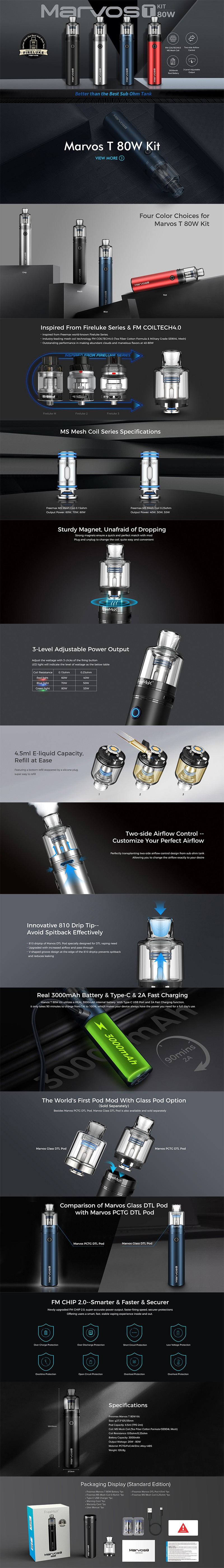 Authentic FreeMax Marvos T 80W Pod System Vape Starter Kit