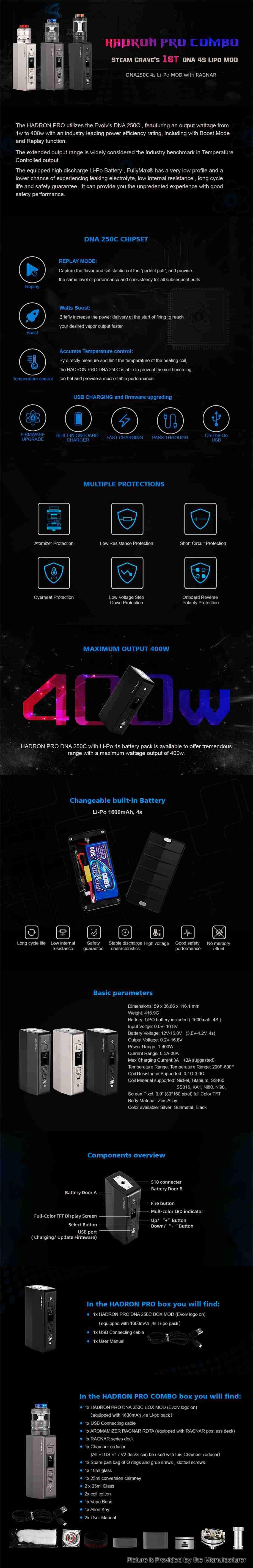 Authentic Steam Crave Hadron Pro Combo Kit DNA 250C Mod +Aromamizer Ragnar RDTA