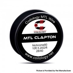 Original Coilology MTL Clapton Ni80 Spool Wire - 28GA / 40GA, 5.2ohm/ft, 10ft