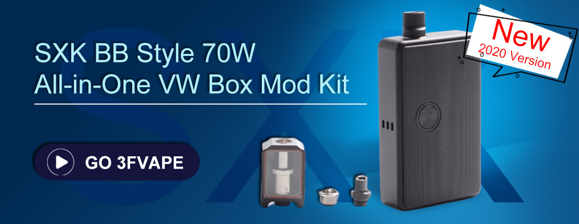 SXK BB Style 70W All-in-One VW Varialbe Box Mod Kit w/ USB Port - Black, 1~70W, 1 x 18650, with Logo