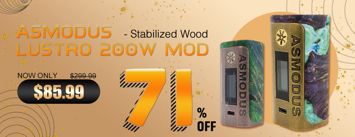 71% off only $85.99 asMODus Lustro 200W Box Mod Stabilized Wood